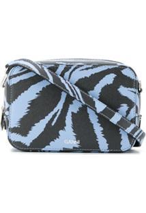Ganni Bolsa Transversal Com Estampa De Zebra - Azul
