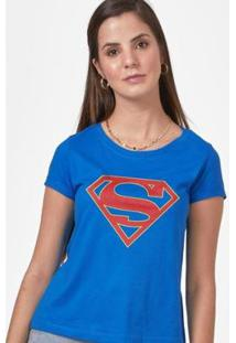 Camiseta Supergirl Logo Feminina - Feminino-Azul