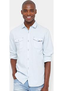 Camisa Sommer Indigo Stone Detalhe Bolso Masculina - Masculino