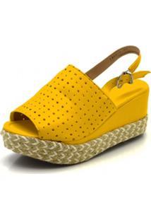 Sandália Flor Da Pele Flat Amarelo