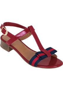 Sandália Vermelha Com Detalhes Em Gorgurão