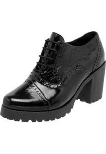 Oxford Ankle Boot Em Couro Q&A Casual Verniz Preto