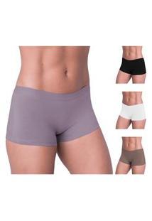 Kit 6 Calcinha Boxer Feminina Shorts Não Marca Na Roupa Multicolor