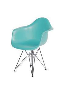 Cadeira Eames Com Braco Base Cromada Tiffanny Fosco - 43636 Branco Base Cromada Tiffanny Fosco