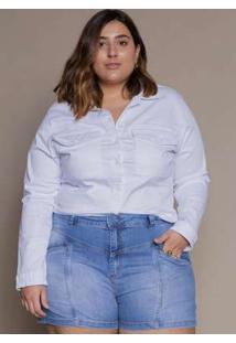Shorts Almaria Plus Size Izzat Houilles Jeans Claro Azul