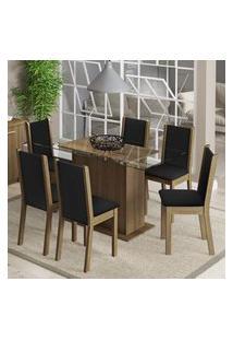 Conjunto Sala De Jantar Aline Madesa Mesa Tampo De Vidro Com 6 Cadeiras Rustic/Preto