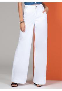 Calça Pantalona Com Bolsos Jeans Branca