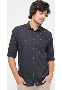 Camisa Sommer Slim Fit Micro Estampa Rosas Masculina - Masculino