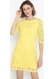 Vestido Em Renda- Amarelo- Cotton Colors Extracotton Colors Extra
