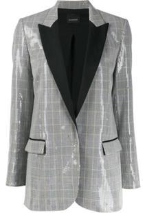 Pinko Check Print Sequinned Blazer - Branco