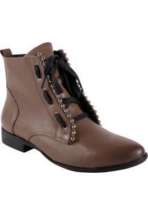 Ankle Boot Capuccino Com Aplicação De Esferas Prateadas