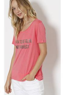 """Camiseta """"Born To Be Real"""" Com Linho - Rosa & Prateadacanal"""