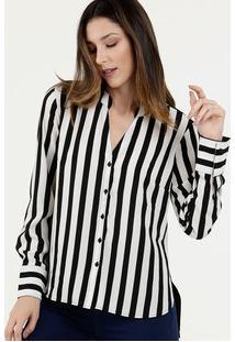 Camisa Feminina Crepe Listrada Marisa