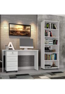 Conjunto Para Escritório Com Mesa, Gaveteiro E Estante Para Livros Gávea Siena Móveis Branco