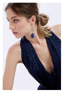 Brinco Lapis Lazuli Ouro