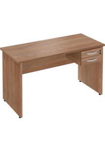 Mesa Para Escritório 2 Gavetas Style 136Cm Plata Móveis Amendoa