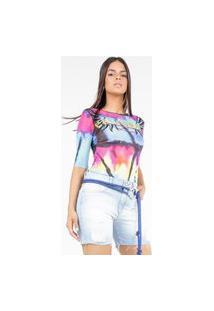 Blusa De Tule Estampa Tie Dye Rainbow Com Transfer Multicolorido