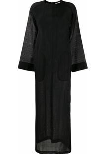 Saint Laurent Vestido Longo Com Fendas Laterais - Preto