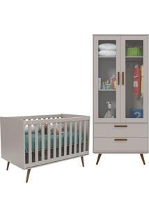 Berço Americano E Guarda Roupa Infantil 2 Portas Retro Glass Cinza Eco Wood – Matic