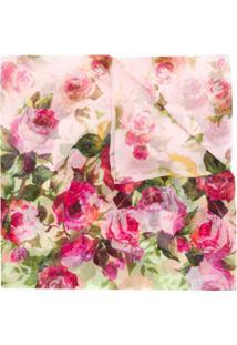 Blumarine Lenço De Seda Com Estampa Floral - Rosa