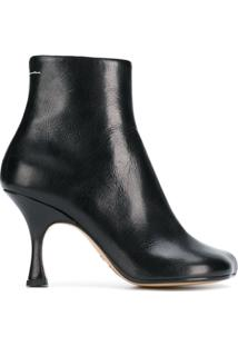 Mm6 Maison Margiela Ankle Boot De Couro - Preto