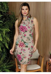 Vestido Floral Bege Com Faixa Moda Evangélica