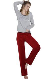 Pijama Inspirate De Inverno Poá Feminino - Feminino-Cinza+Vermelho