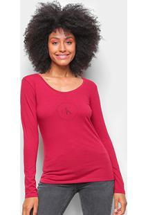 Blusa Calvin Klein Slim Logo Manga Longa Feminina - Feminino-Vermelho Escuro