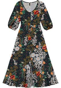 Vestido Mídi Estampado Fenda Jardim - Lez A Lez