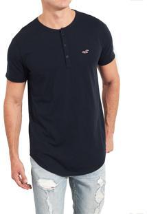 Camiseta Manga Curta Hollister Básica Azul-Marinho