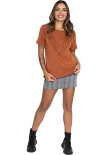 Camiseta Babado Le Julie Marrom - Marrom - Feminino - Viscose - Dafiti