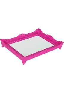 Bandeja Espelho Rococó Pink M6X39X28Cm Trevisan Concept