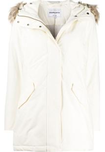 Woolrich Zipped Waterproof Raincoat - Branco