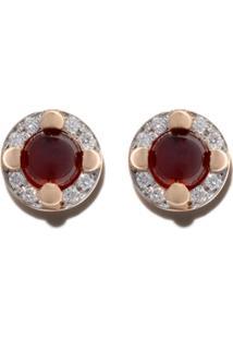 Pomellato Par De Brincos De Ouro Rosé 18K Com Diamante E Granada - Red