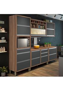 Cozinha Compacta Baronesa 7 Pt 8 Gv Grafite E Marrom