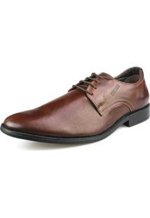 Sapato Social Couro Amarração Confort Pinhão Perlatto