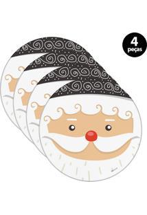 Capa Para Sousplat Mdecore Natal Papai Noel Branco 4Pçs