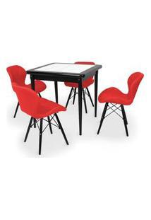 Conjunto Mesa De Jantar Em Madeira Preto Prime Com Azulejo + 4 Cadeiras Slim - Vermelho