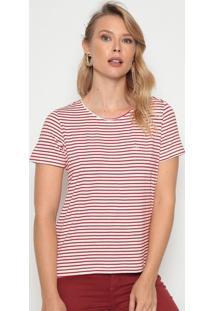 Blusa Com Fendas - Off White & Vermelhadudalina