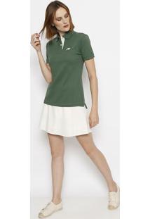 Polo Em Piqu㪠Com Bordado- Verde & Brancaclub Polo Collection