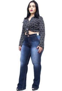 Calça Jeans Credencial Plus Size Flare Cleomarice - Feminino-Azul