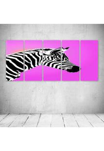 Quadro Decorativo - Zebra Pink - Composto De 5 Quadros - Multicolorido - Dafiti
