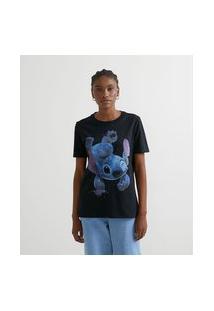 Blusa Alongada Em Algodão Com Estampa Stitch No Espaço