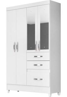 Guarda-Roupa Solteiro Com Espelho New Tâmis Flex 4 Pt 3 Gv Branco