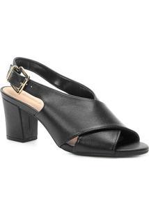 Sandália Couro Shoestock Strappy Salto Bloco Feminina - Feminino-Preto