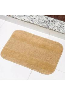 Tapete Para Banheiro Tapetes Junior Esmeralda Em Polipropileno 40X60Cm Bege Antiderrapante