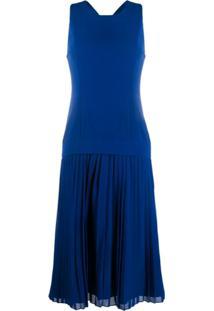 Paul Smith Vestido Reto Com Pregas - Azul