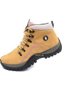 Coturno Bota Adventure Macshoes 218-Amarelo/Rosa
