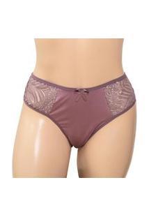 Calcinha Plus Size Fio Duplo E Renda - Clamf015-Satin-Gg Nude