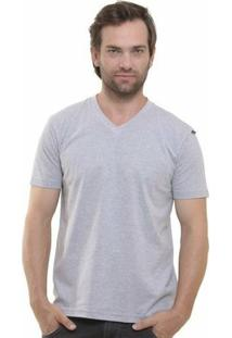 Camiseta Decote V Masculina - Masculino-Cinza